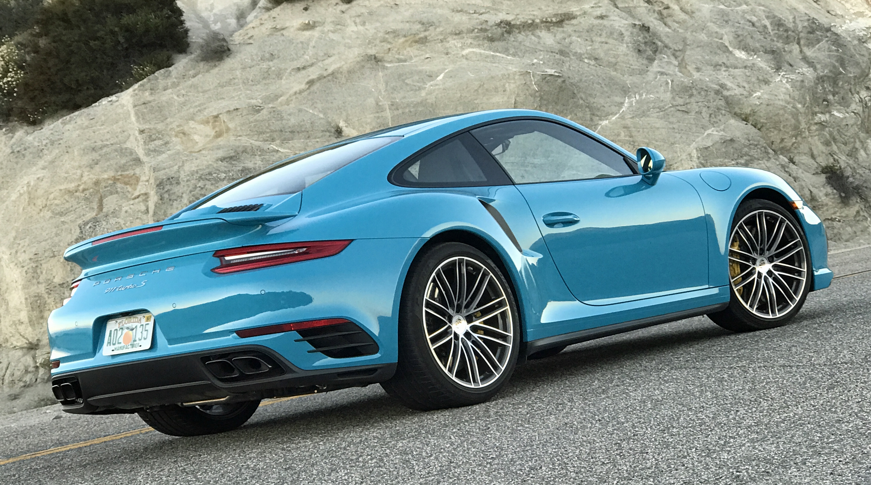 2017 Porsche 911 Turbo S Rear Miami Blue