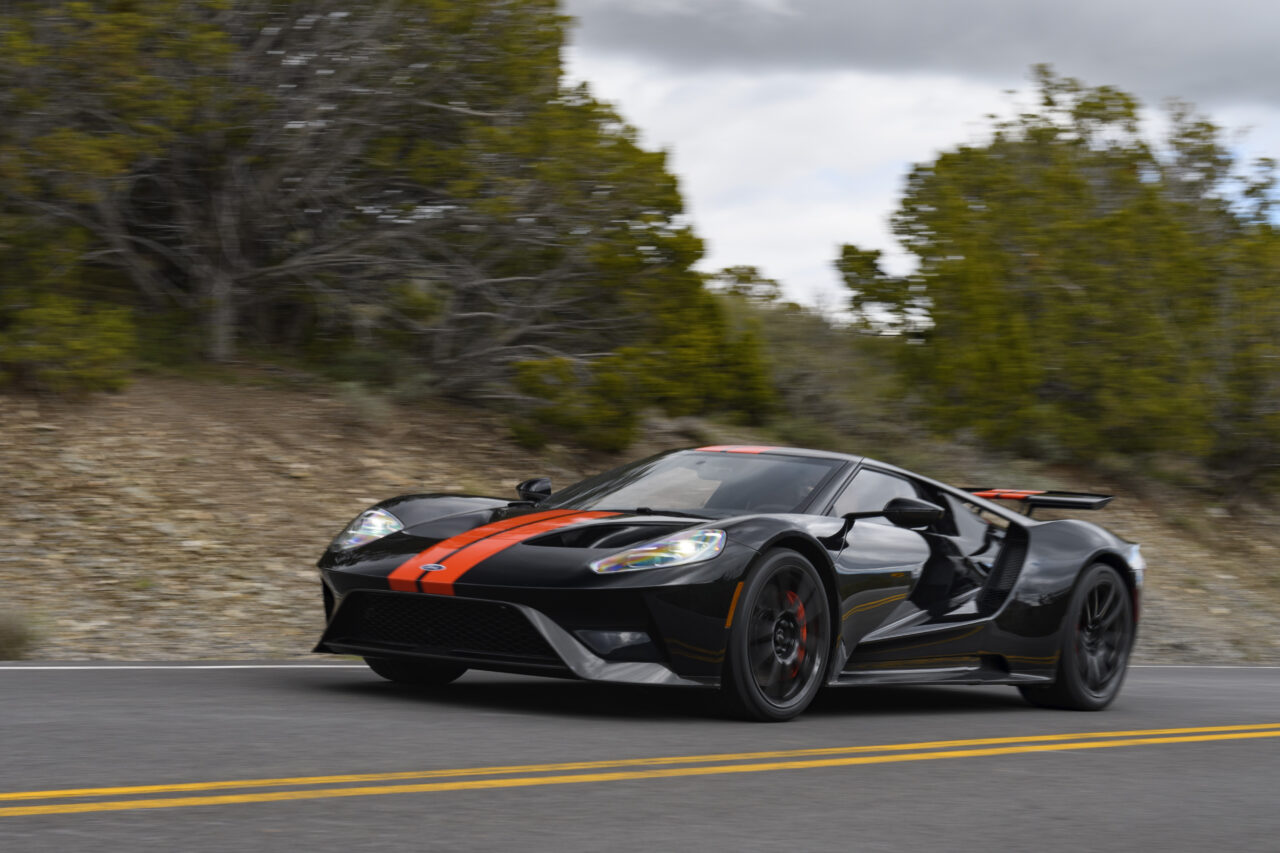 Black Orange Ford GT Driving