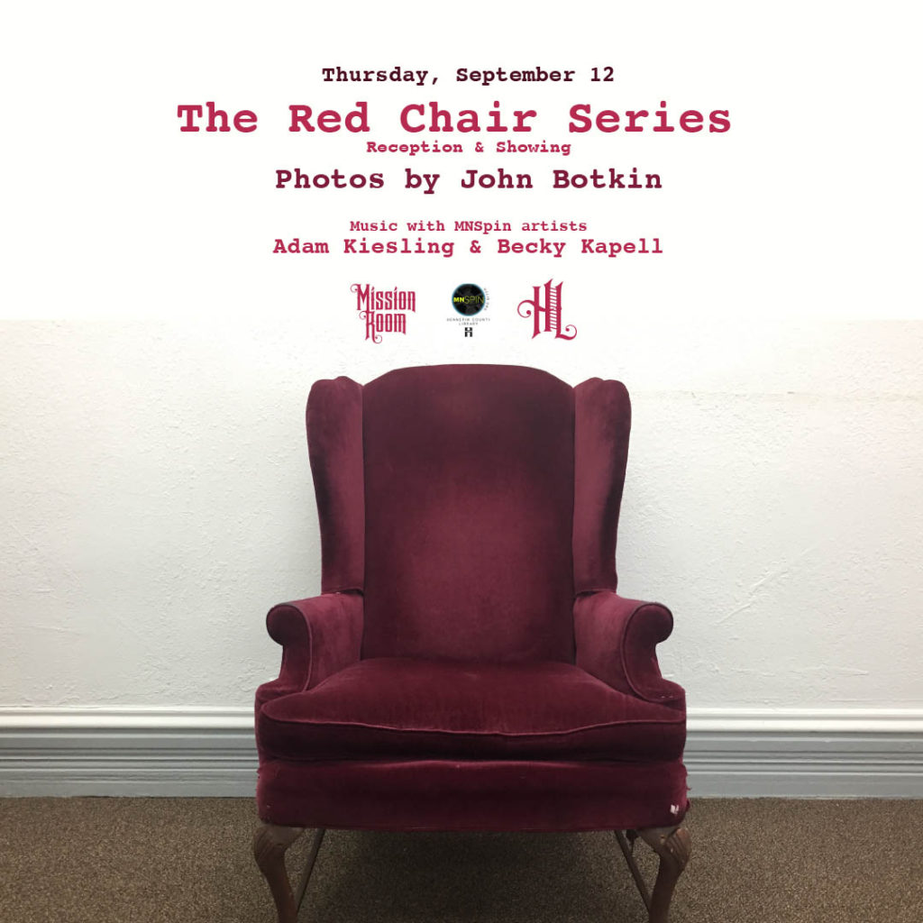 The Red Chair Series Reception. Photos By John Botkin. Thursday, September 12th in The Hook and Ladder Mission Room