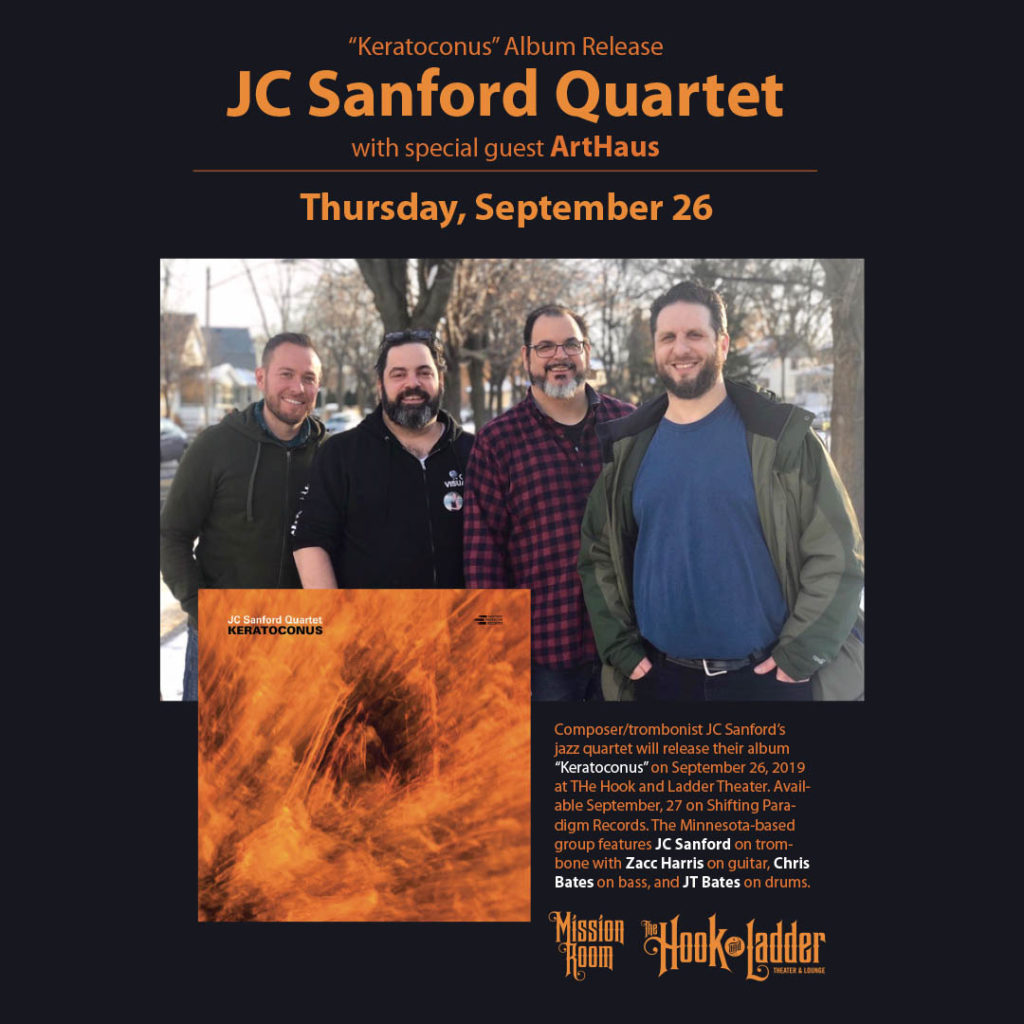 JC Sanford Quartet with ArtHaus on Thursday, September 26 at The Hook and Ladder Mission Room