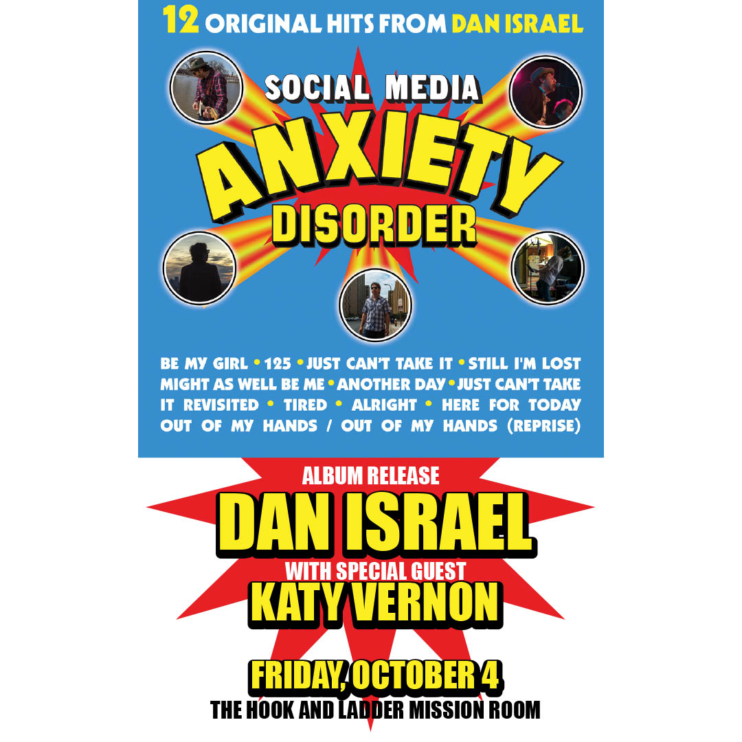 Dan Israelwith special guest Katy Vernon on Friday, October 4 at The Hook and Ladder Mission Room