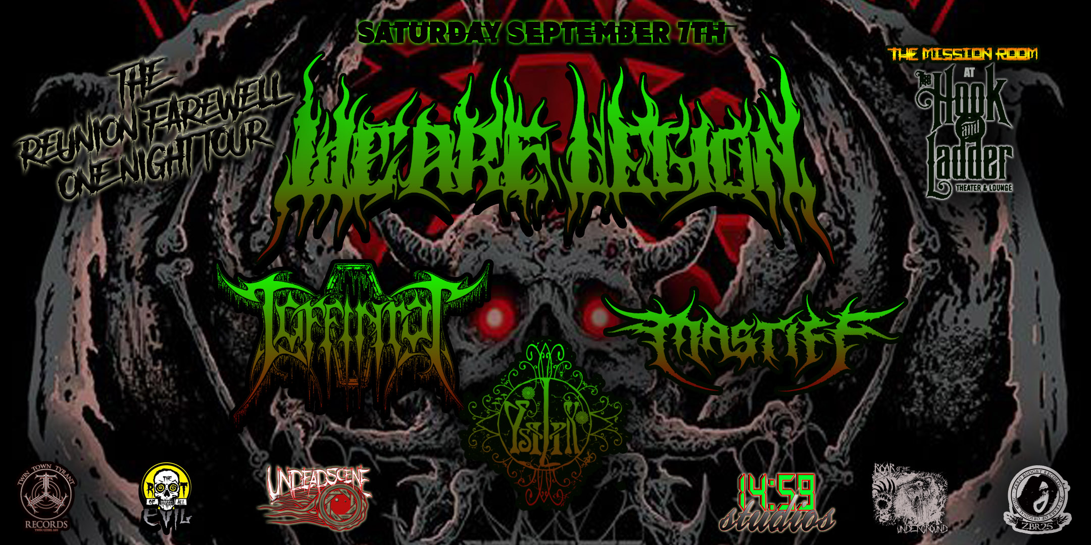 We Are Legion with Coffinrot, Mastiff, and Ysilik on Saturday, September 7 at The Hook and Ladder Mission Room