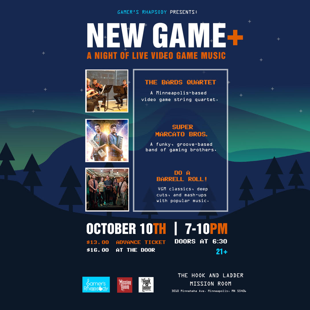 The Bard's Quartet, Super Mercado Bros, and Do a Barrel Roll! on Thursday, October 10 at The Hook and Ladder Theater