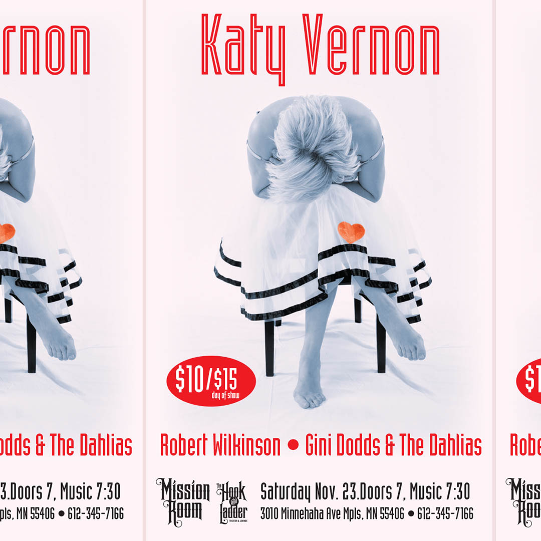 Katy Vernon Band with Gini Dodds & The Dahlias, & Robert Wilkinson on Saturday, November 23 at The Hook & Ladder Mission Room
