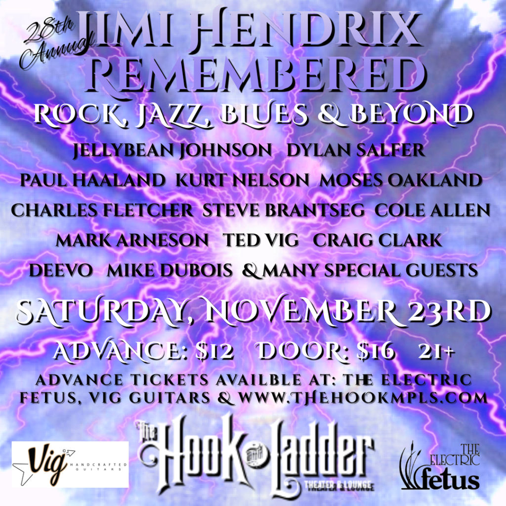 """28th Annual """"Jimi Hendrix Remembered"""" on Saturday, November 23 at The Hook and Ladder Theater"""