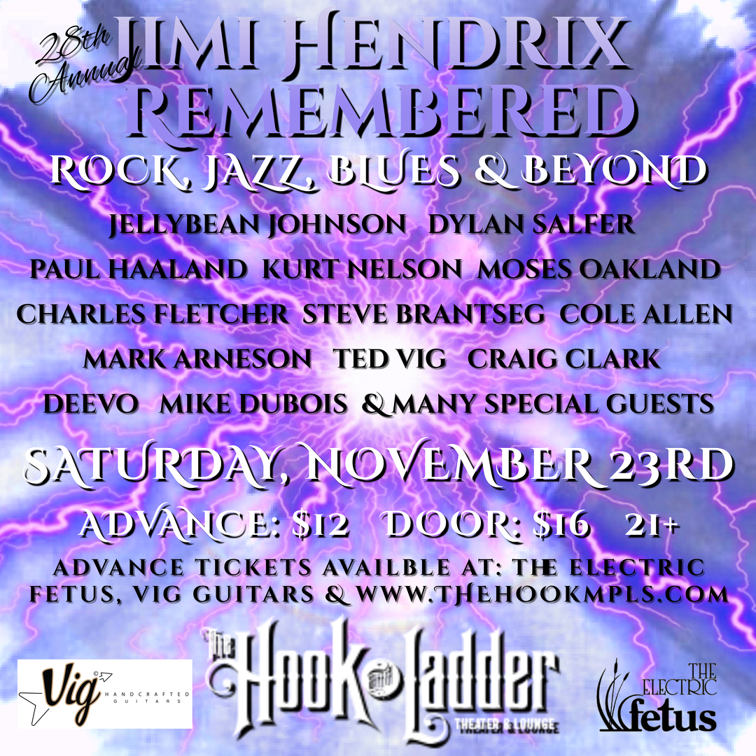 "28th Annual ""Jimi Hendrix Remembered"" on Saturday, November 23 at The Hook and Ladder Theater"
