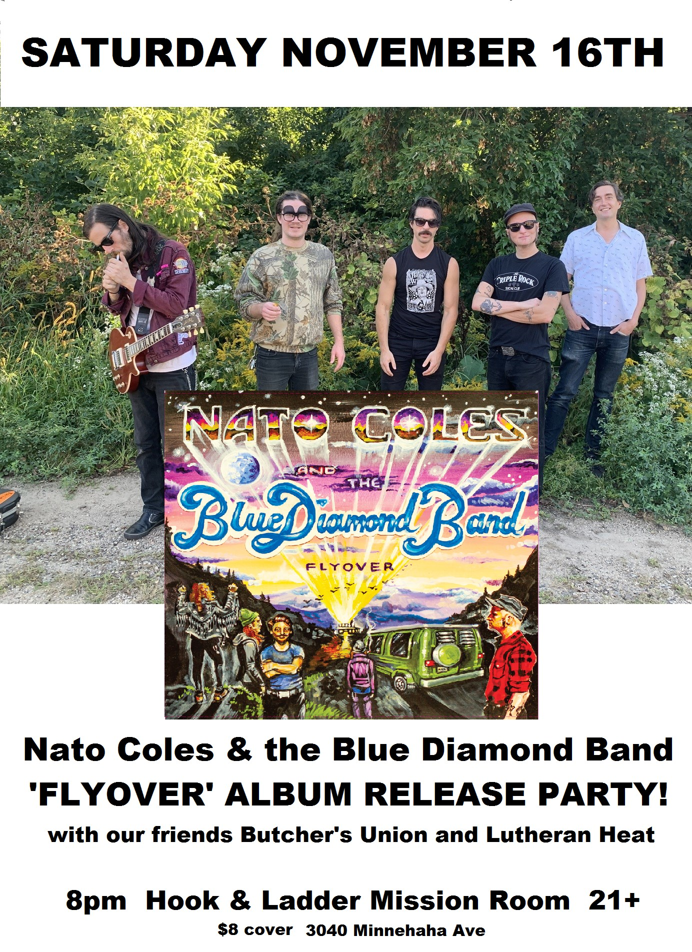 Nato Coles & the Blue Diamond Band with Butcher's Union and Luthern Heat on Saturday, November 16