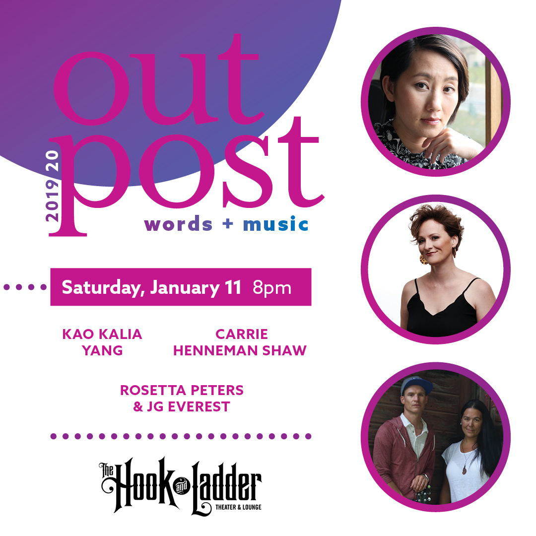 Outpost: Words + Music on Saturday, January 11 at The Hook and Ladder Theater