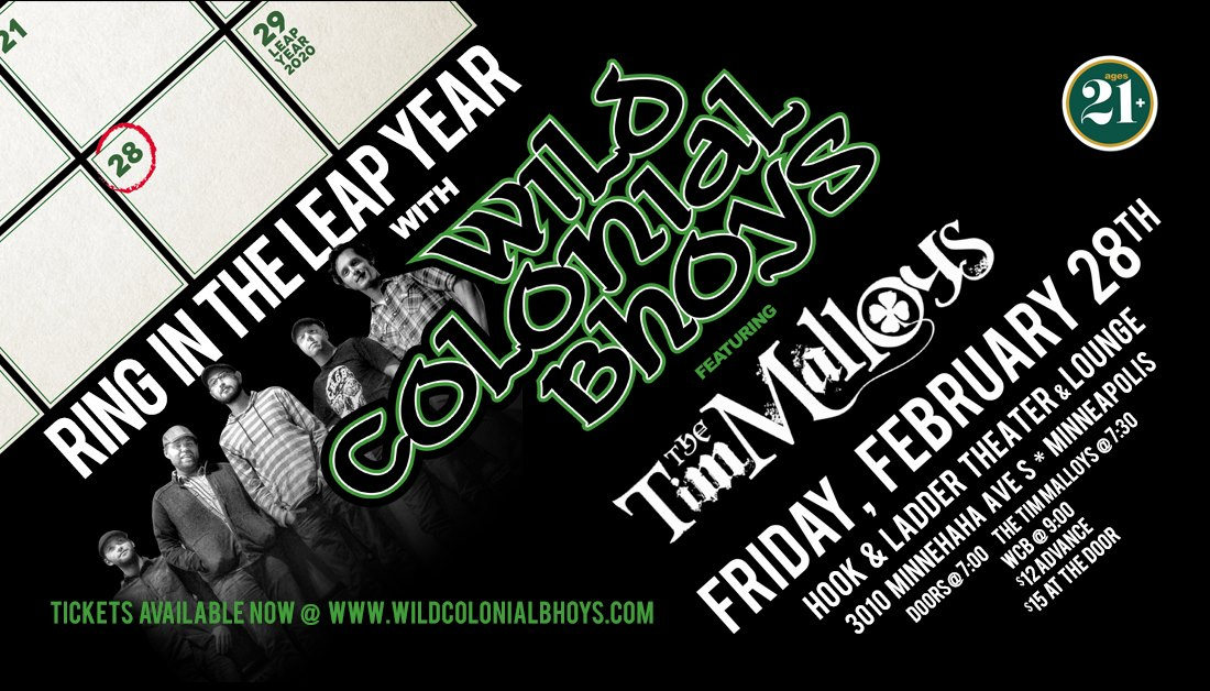 Wild Colonial Bhoysand The Tim Malloys - Friday, February 28 - The Hook and Ladder Mission Room