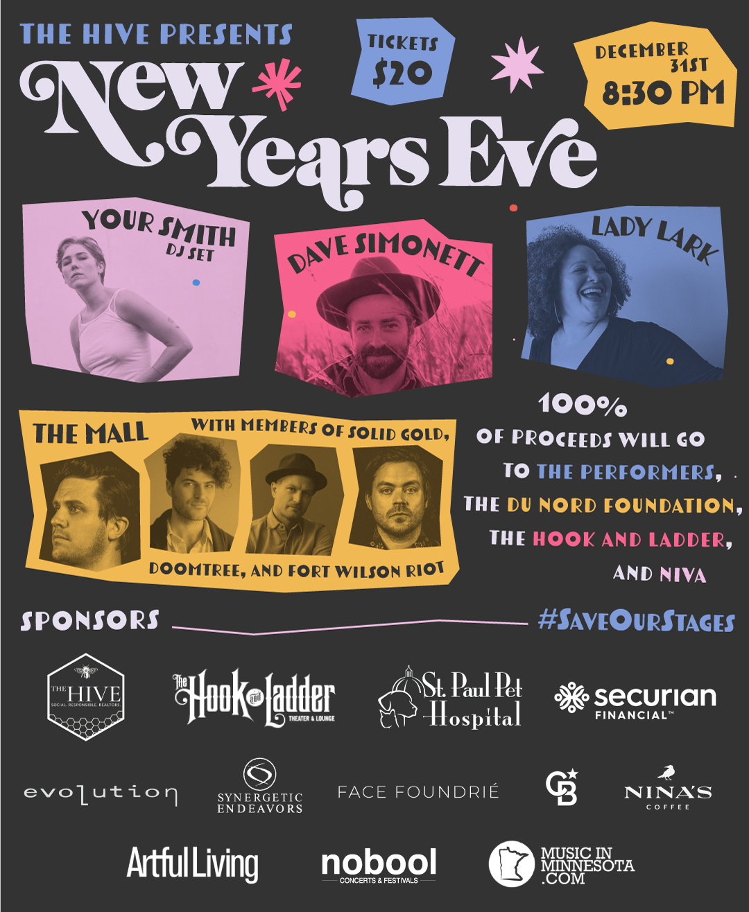 HIVE presents New Years Eve with Your Smith, The Mall, Lady Lark, Dave Simonett on 12/31/20 at The Hook!