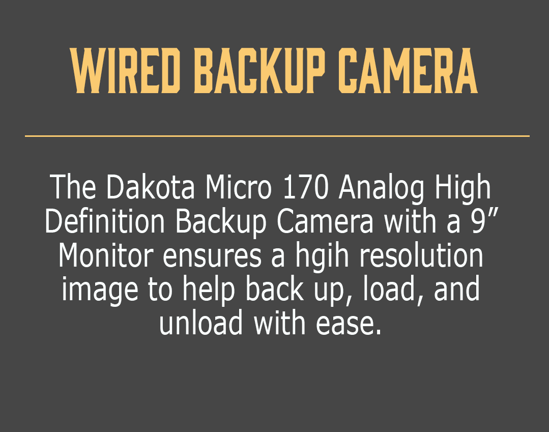 "Wired Backup Camera-The Dakota Micro 170 Analog High Definition Backup Camera with a 9"" Monitor ensures a hgih resolution image to help back up, load, and unload with ease."
