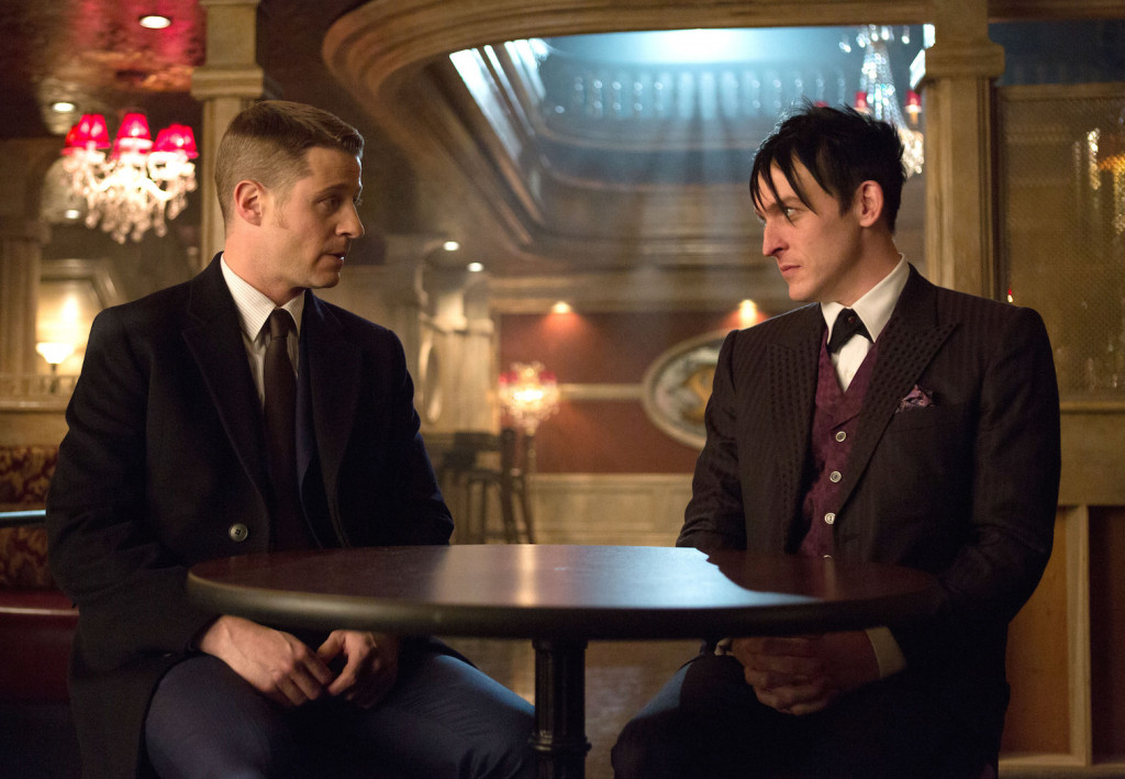 "GOTHAM: Detective James Gordon (Ben McKenzie, L) has a conversation with Oswald Cobblepot (Robin Lord Taylor, R) in the ""Welcome Back, Jim Gordon"" episode of GOTHAM airing Monday, Jan. 26 (8:00-9:00 PM ET/PT) on FOX. ©2015 Fox Broadcasting Co. Cr: Jessica Miglio/FOX"