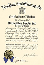 NYSE certificate