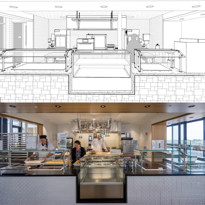 Rendering before after kitchen california