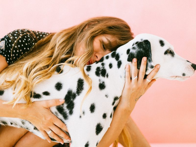 Girl hugging dalmatian dog
