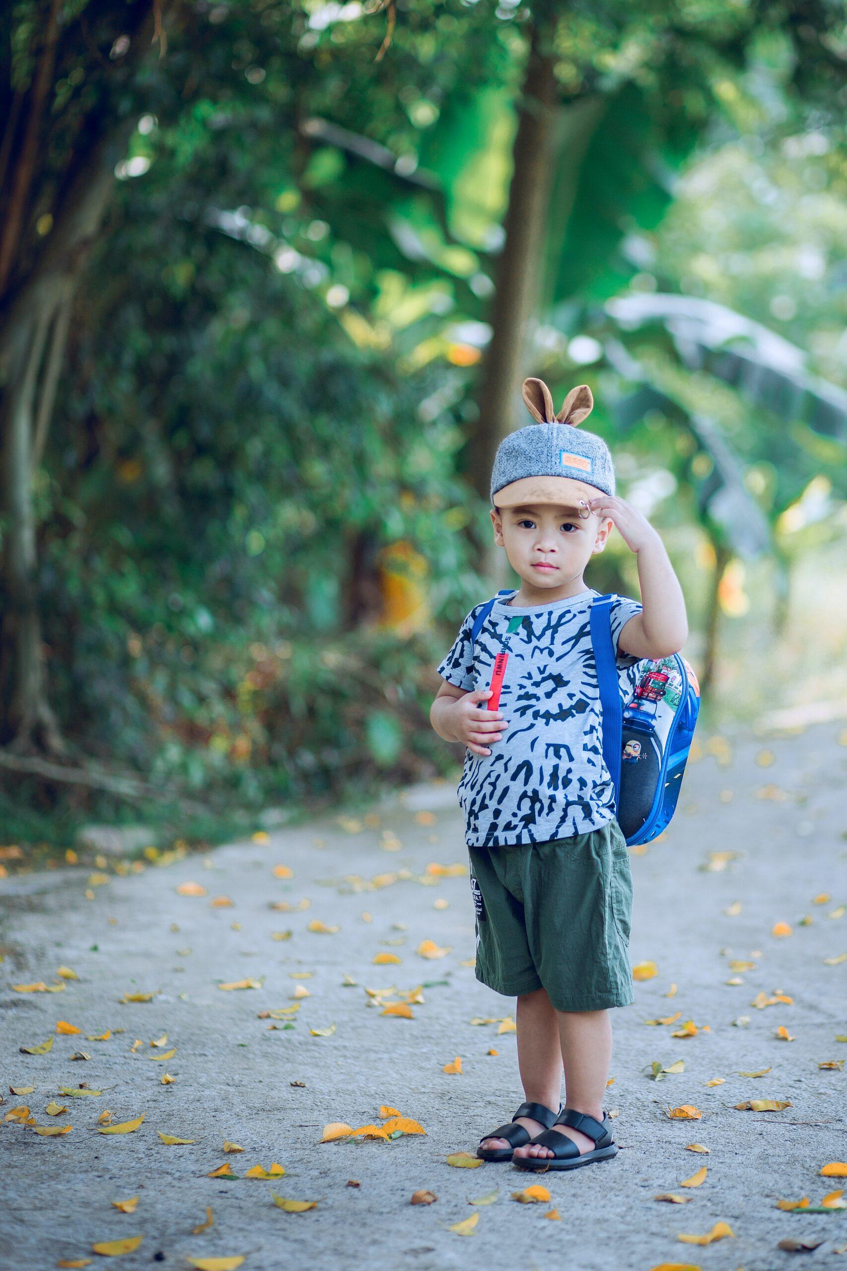 preschooler wearing a backpack