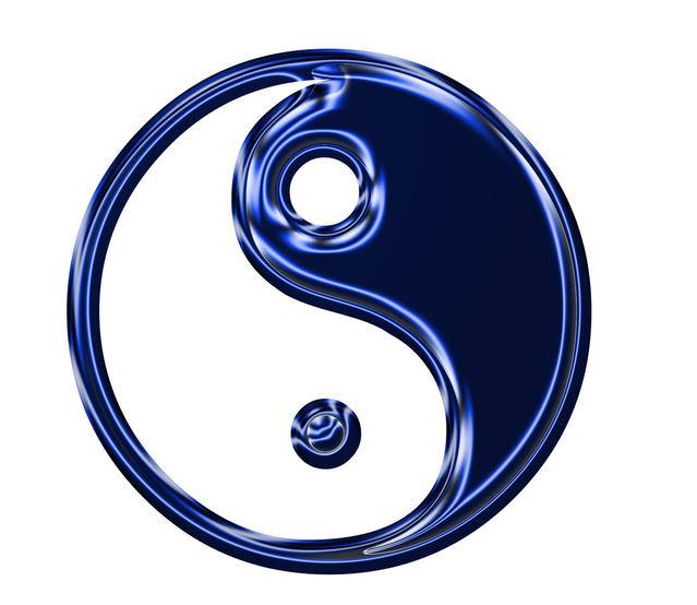 the yin and yang symbol in metallic blue