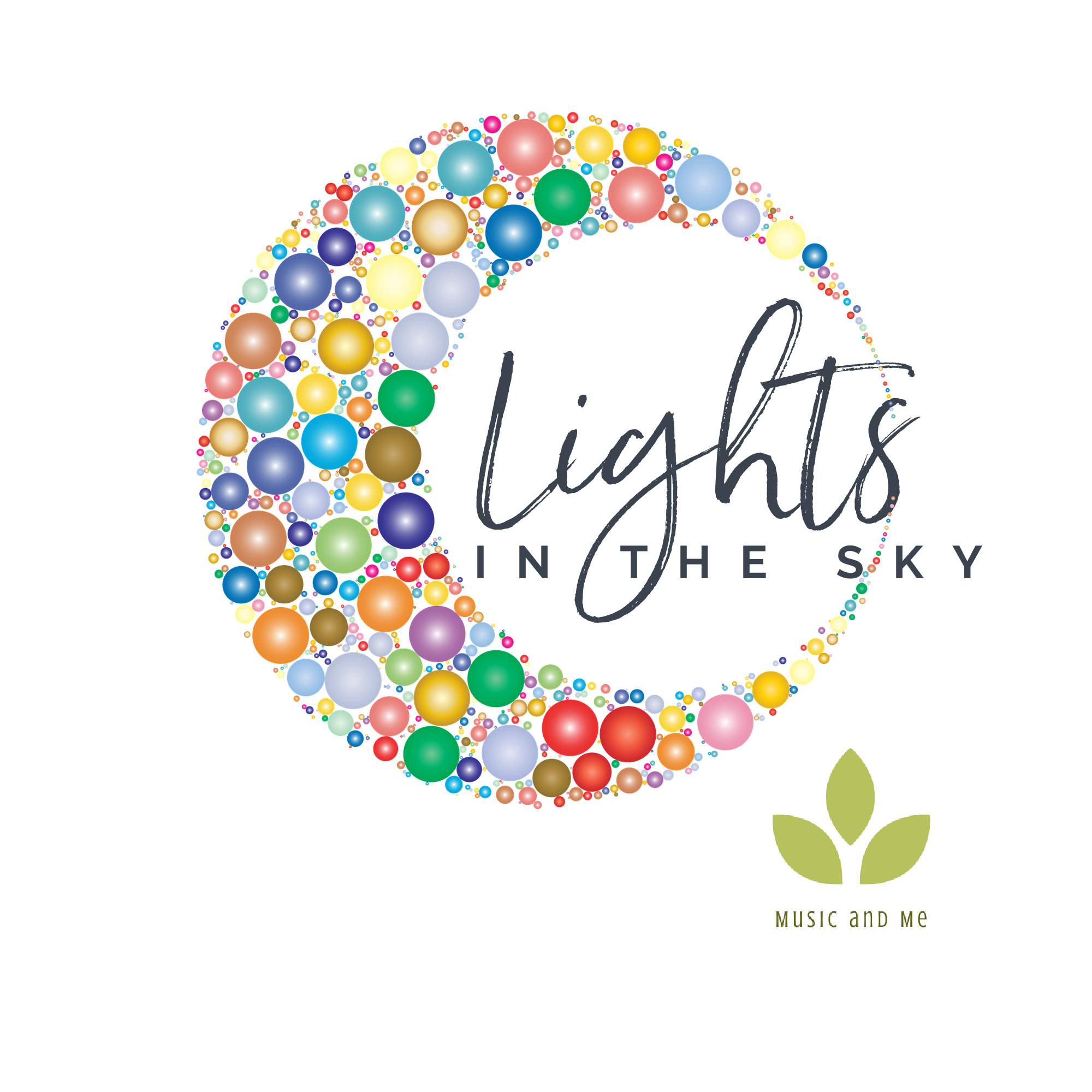 """colorful moon design with words """"Lights in the sky"""" by Music and Me"""