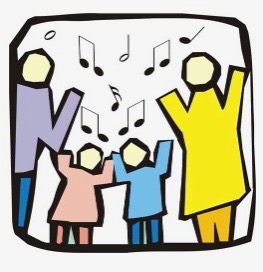 colorful collage image of dad, daughter, son and mom singing together