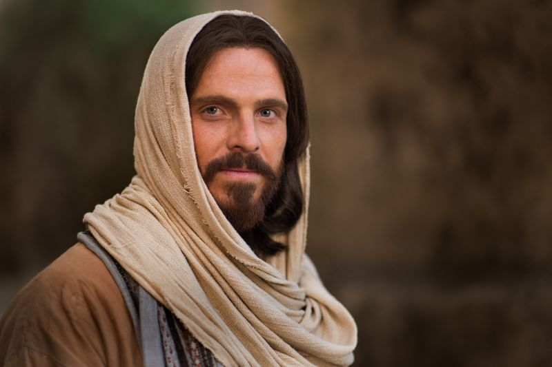 picture of an actor of Jesus Christ of Nazareth with a white linen over his head