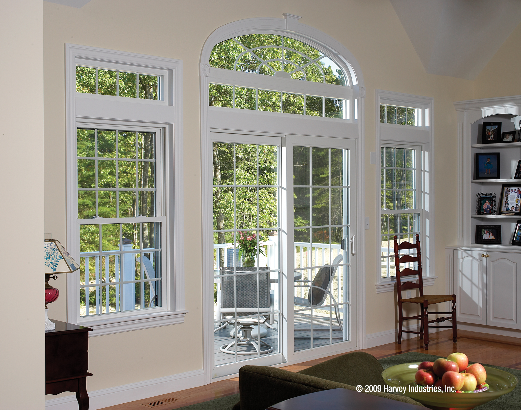 Combine double hung windows with patio doors to create that unique look