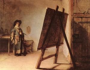 rembrandtvanrijn_the_artist_in_his_studio