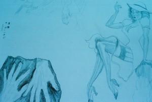blue girl hands