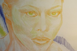 green eyes colored pencil