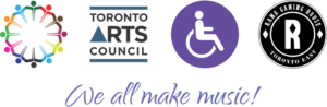 Logos for inclusivity, the Toronto Arts Council, wheelchair accessibility and Rama Toronto East Gaming Centre