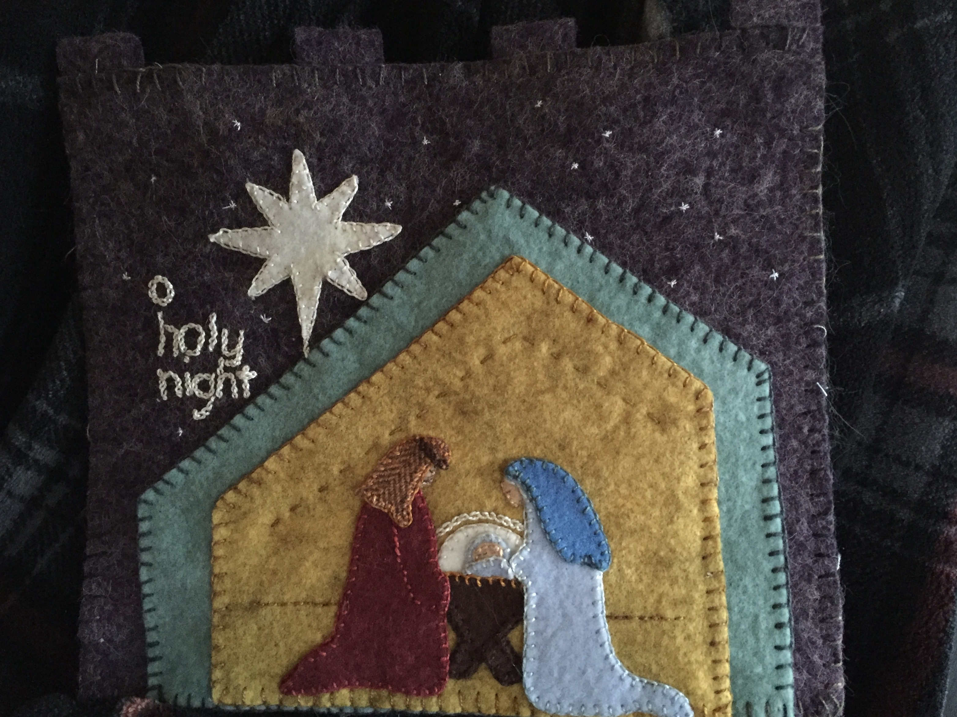 Manger Scene Wool Applique