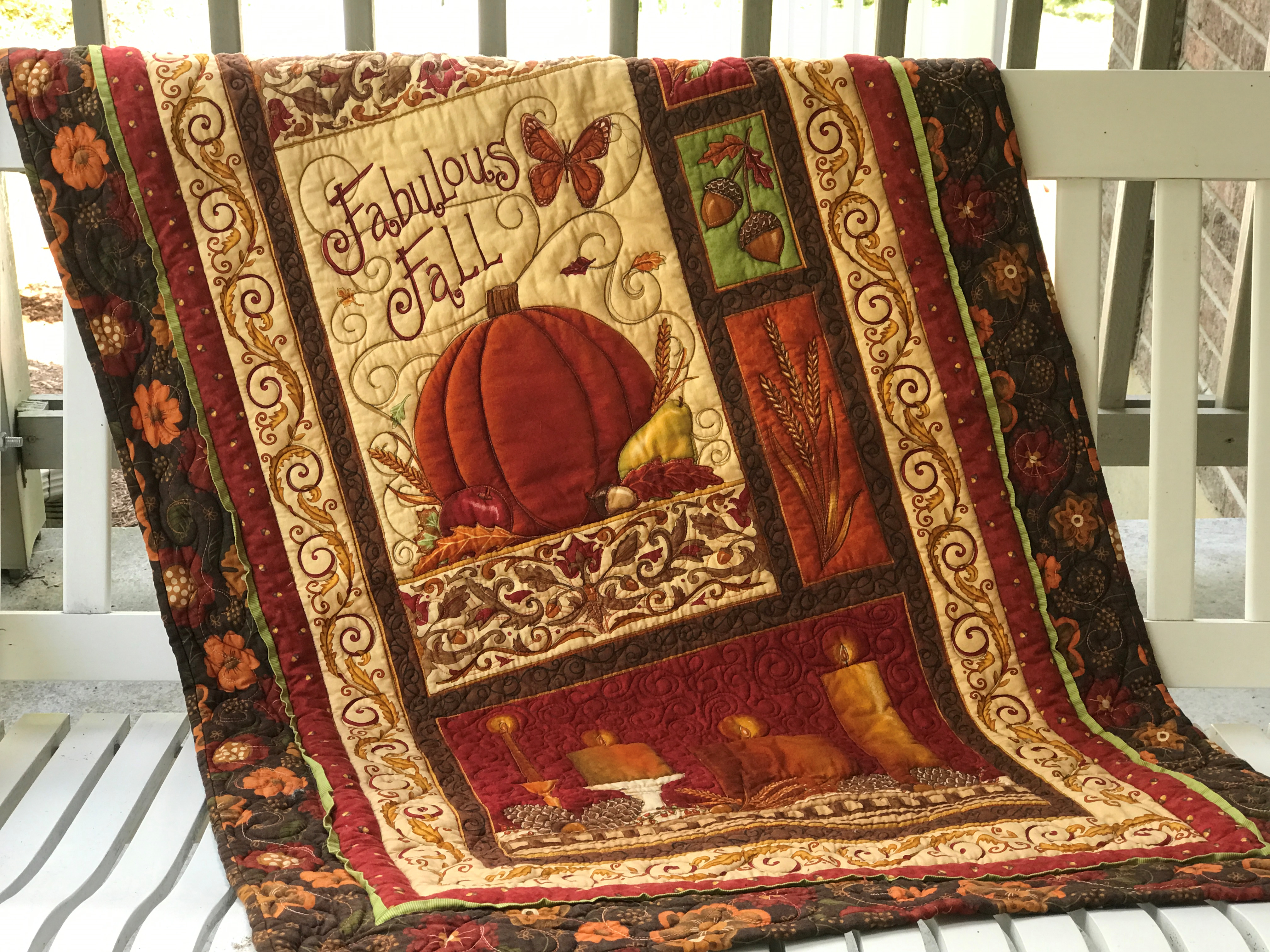Image of quilt on swing.