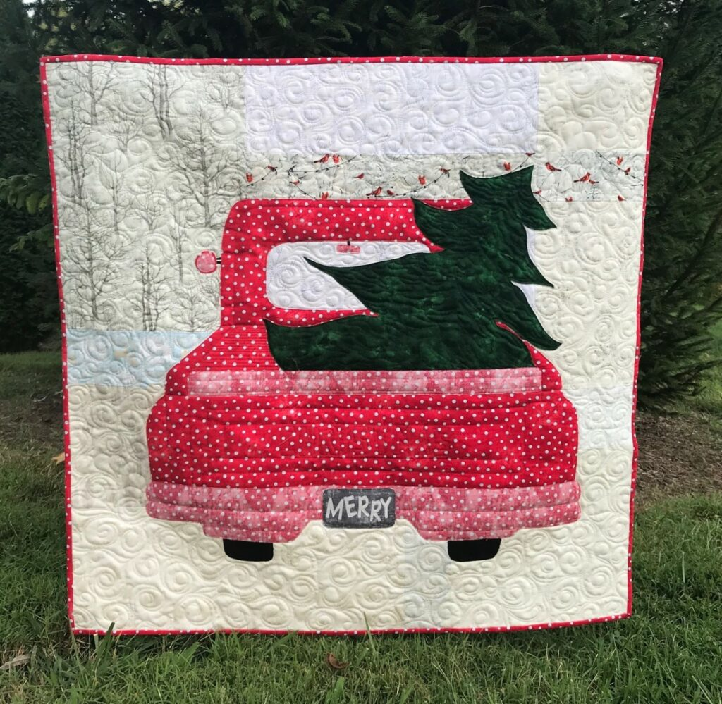 Image of red truck Christmas quilt