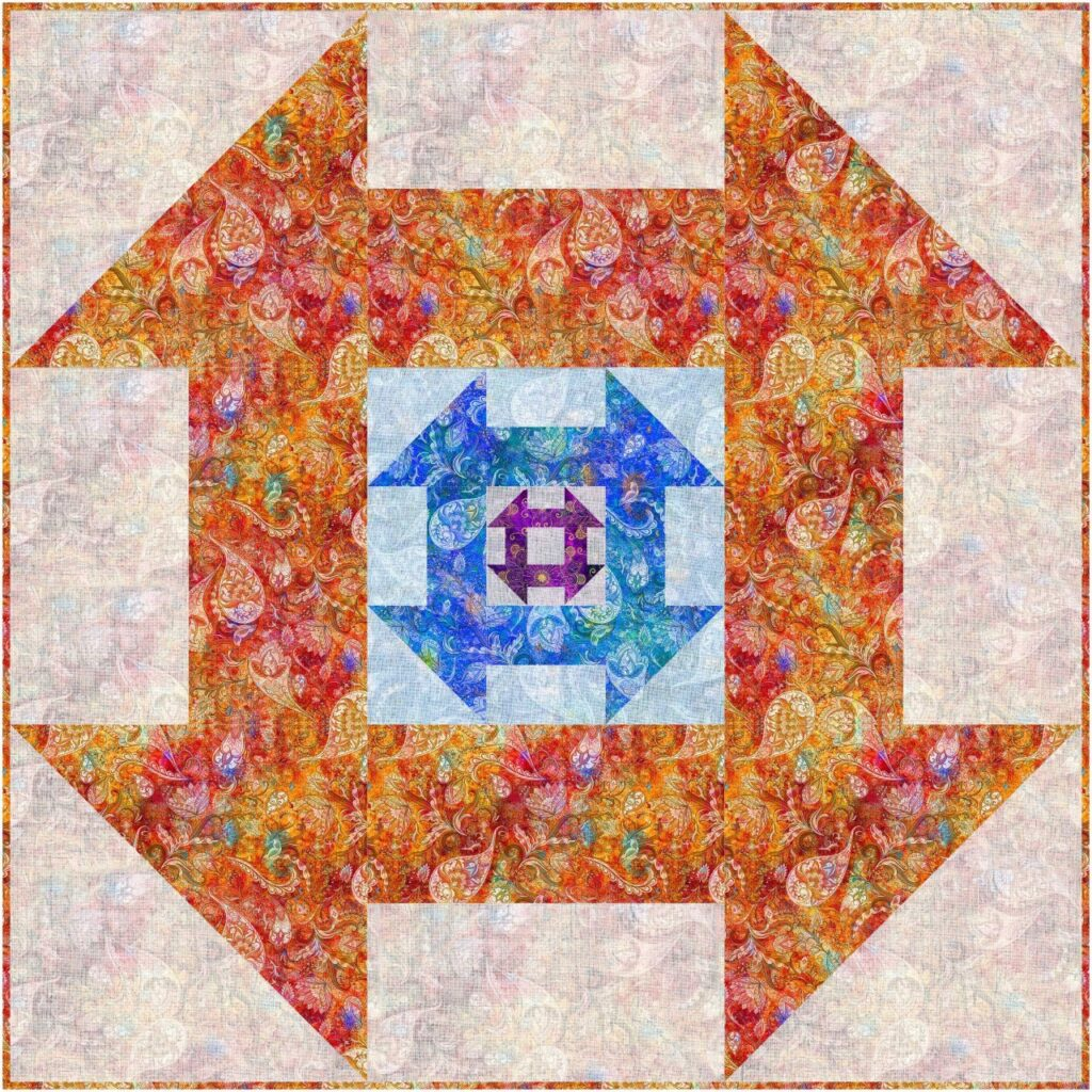 Image of Dash About for Hoffman Quilt Pattern, showing another way to use both beautiful sides