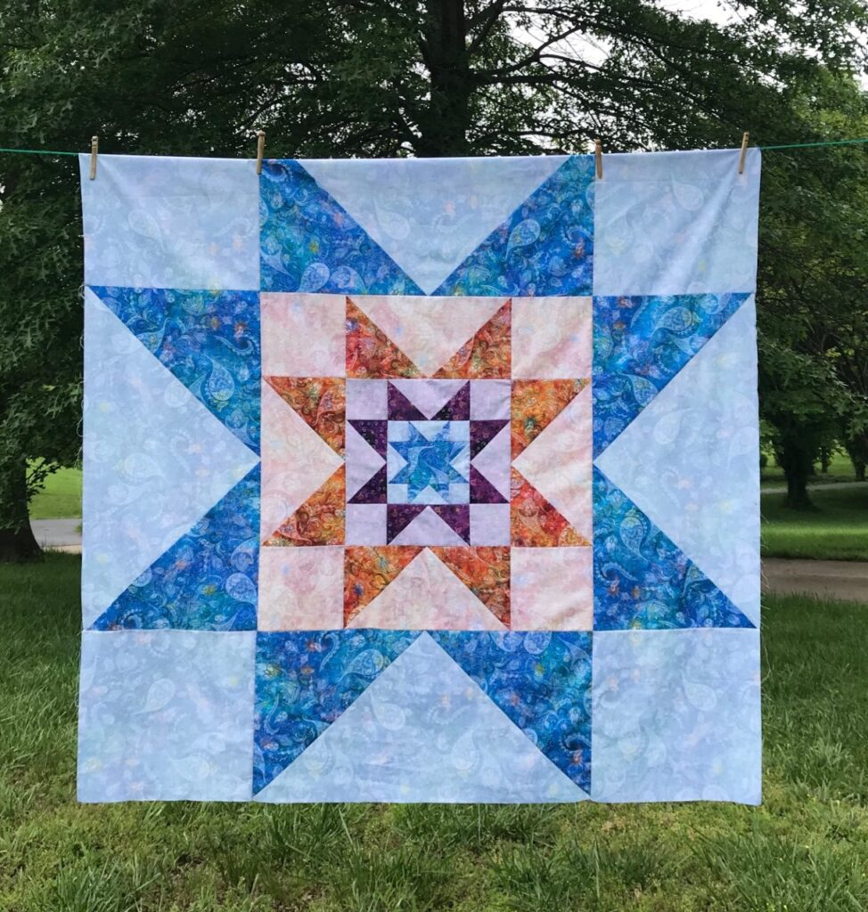 Use three beautiful fabrics in this quilt called VariLovable Star!