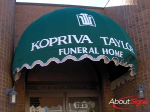 Funeral home canopy awning