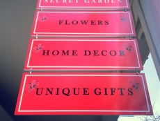 Multiple hanging signs