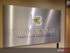 Brushed metal logo reception sign Mississauga ON