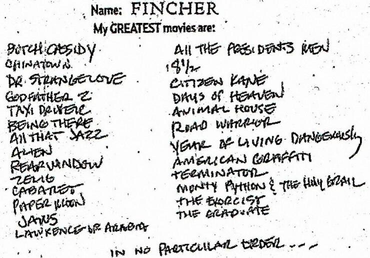 david fincher list of favorite movies