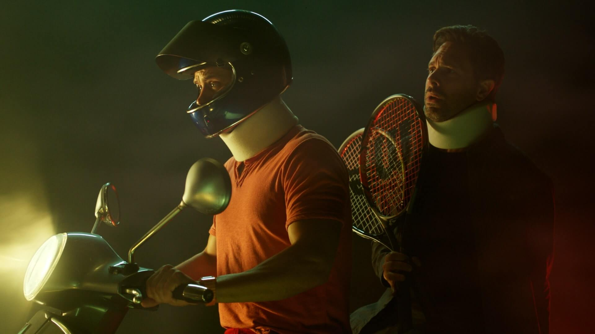 Jake Robinson and Thomas Sadoski on a motorbike in 'The Mimic'