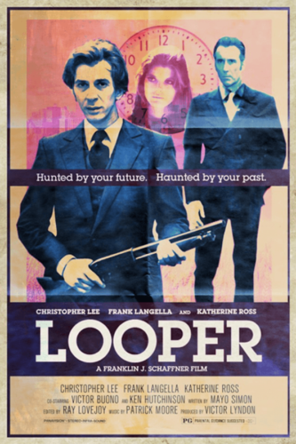 Looper (2012)., Christopher Lee, Frank Langella, Katherine Ross - Modern Films Re-Imagined into Classic Posters