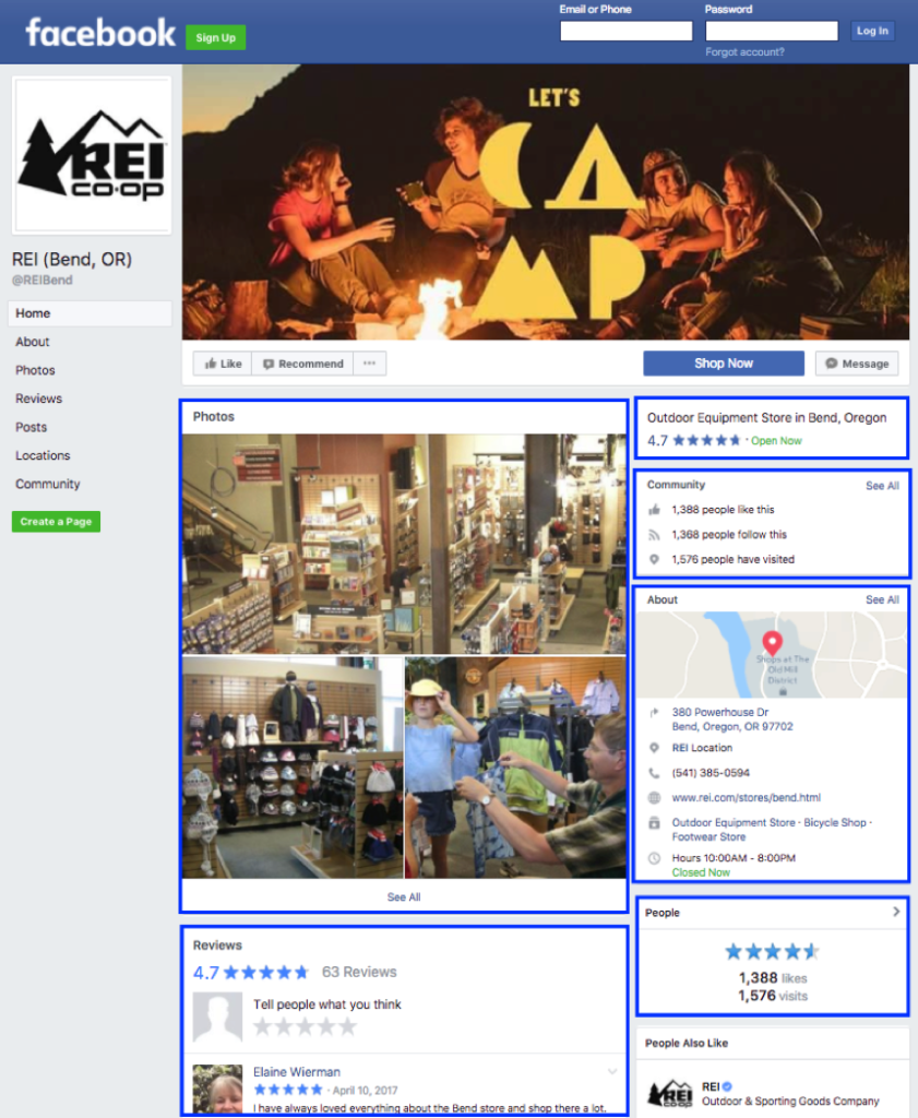 REI social example for location