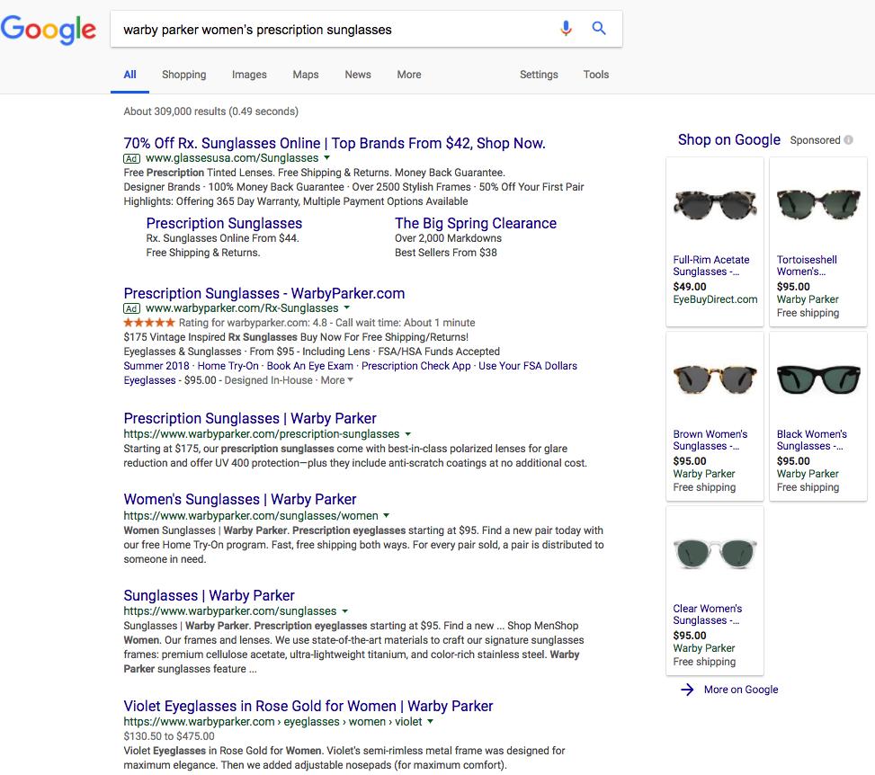 google serp results