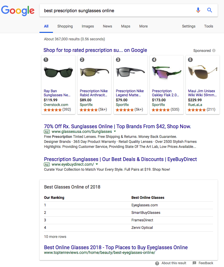 google search result for sunglasses