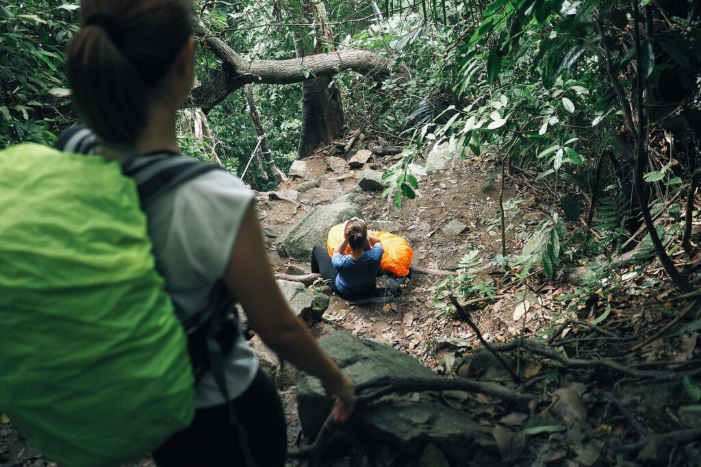 Two women hiking in the rainforest