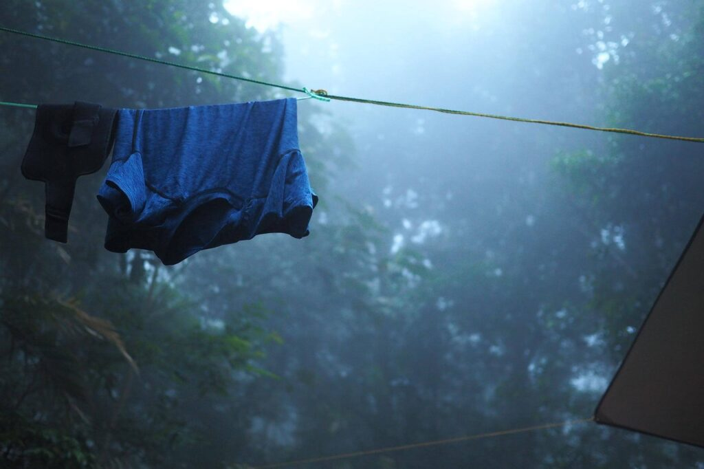 Drying clothes at a campsite