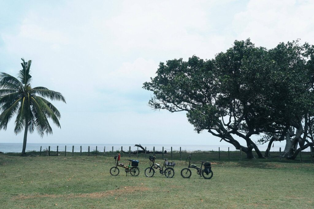 Three foldable bikes standing on the field beside the beach