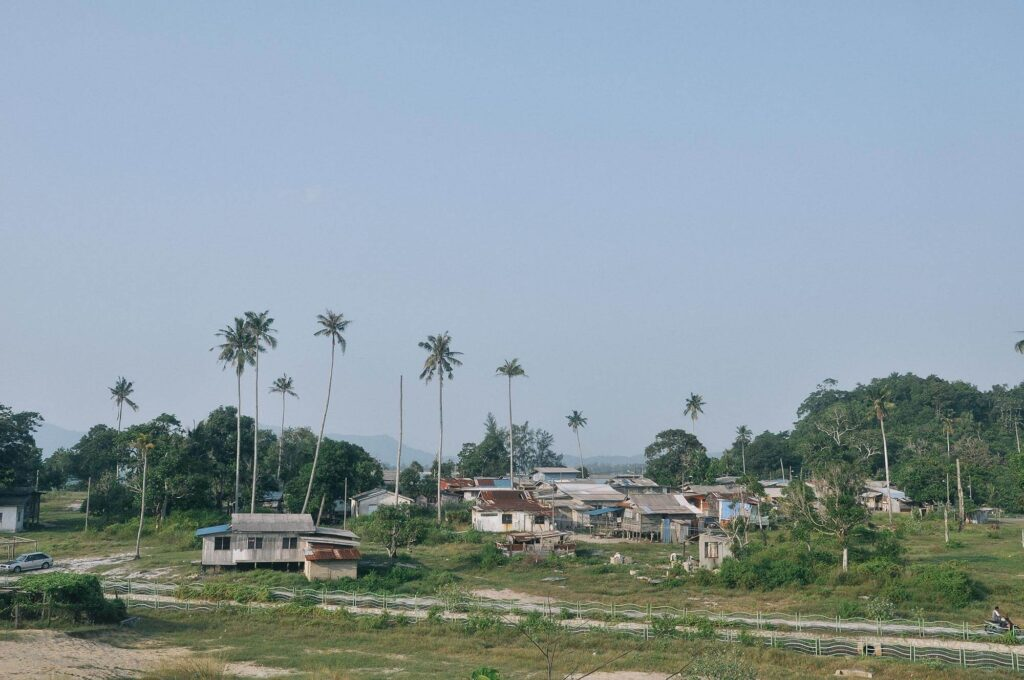 View of a traditional Malay kampung(village)