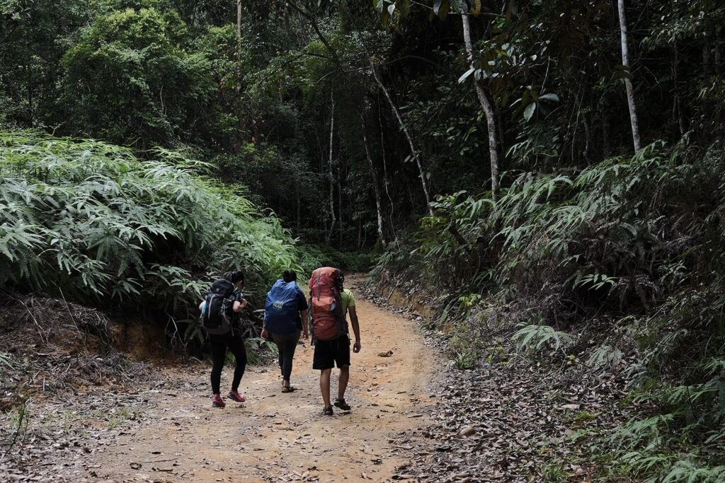 3 hikers following a mountain track