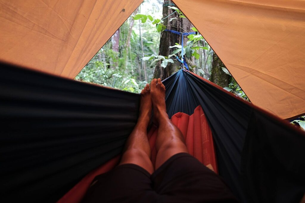 First person view of laying on a hammock