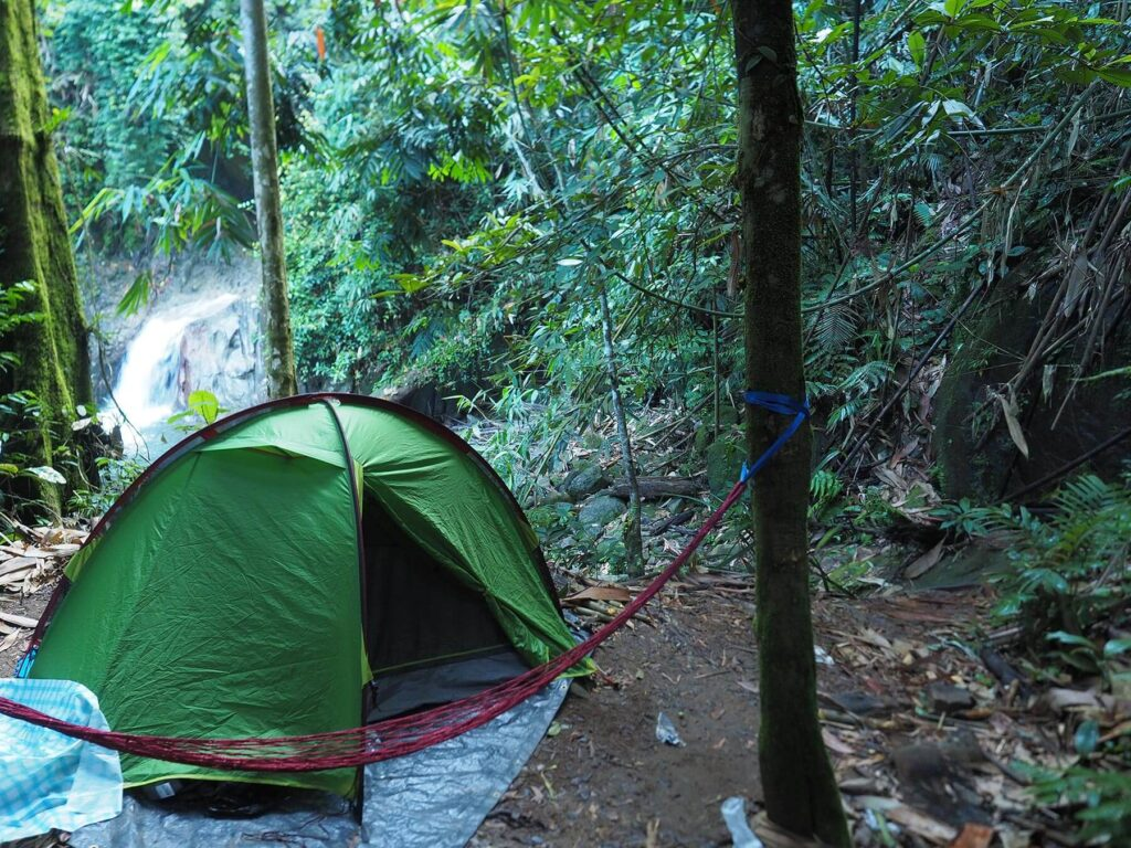 A green tent set up in a narrow camp ground